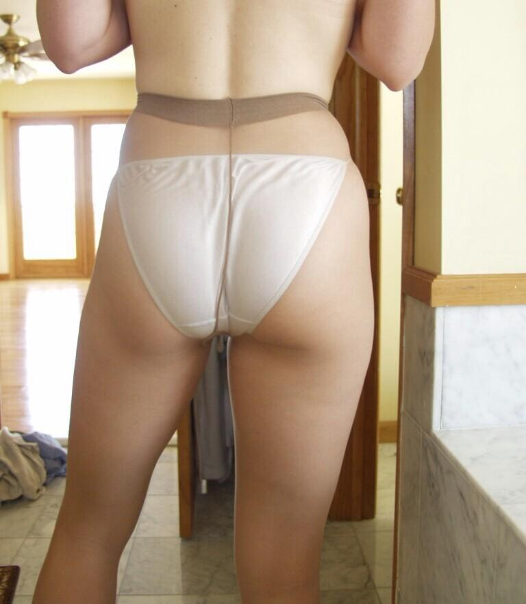 Transparent white leggings no panties in public